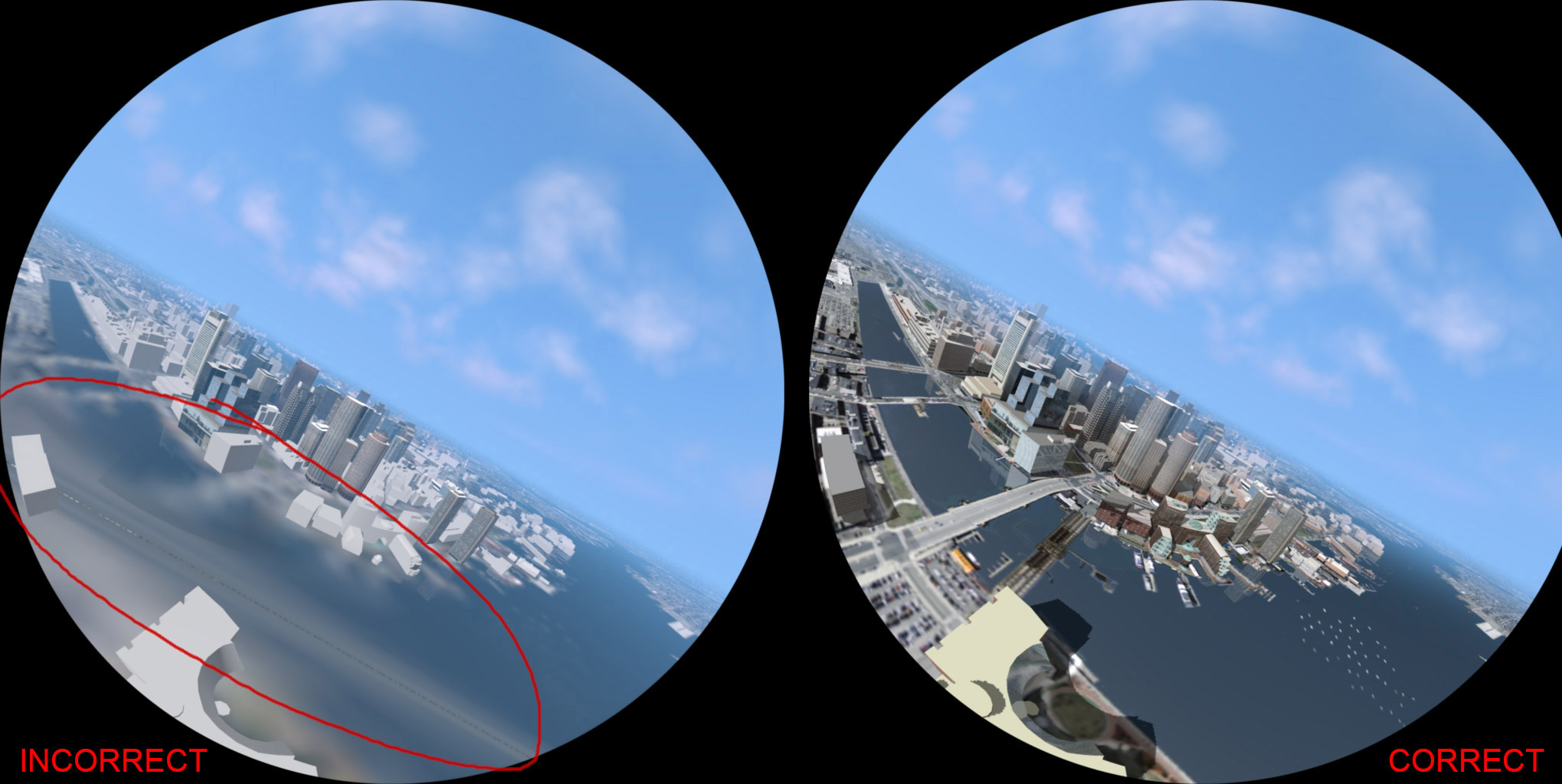 The Infamous Grey Blurry Line Of Fisheye Lens Shaders Fulldome Fish Eye Compare1